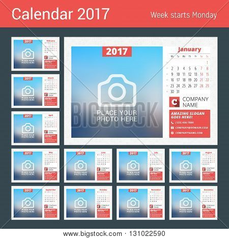 Desk calendar for 2017 year. Vector print template with place for photo. Week starts Monday. Calendar page. Stationery design