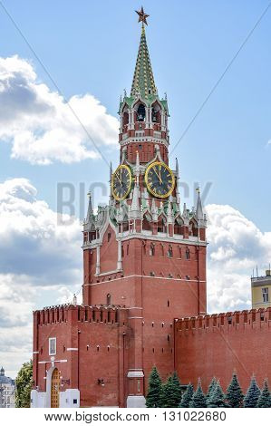 Spasskaya clock tower in Kremlin Moscow one of the most prominent points in their walls views of Red Square