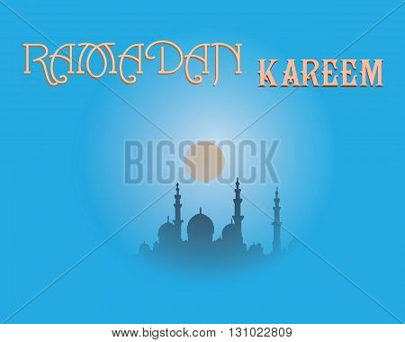 Creative greeting card design for holy month of muslim community festival Ramadan Kareem with moon and hanging lantern and stars on background.