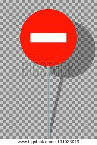 Road signs. It is prohibited to enter vehicles on transparent background. Vector Illustration. EPS10