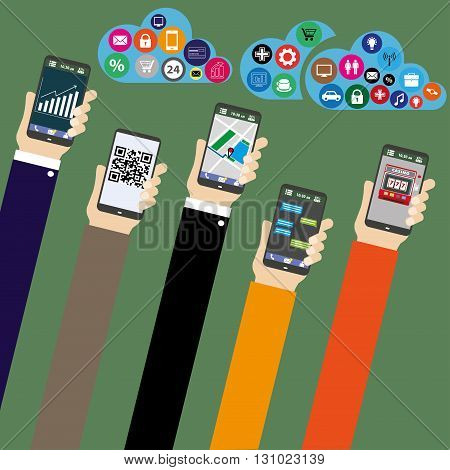Mobile applications concept. cloud computing. Hand with phones flat illustration.