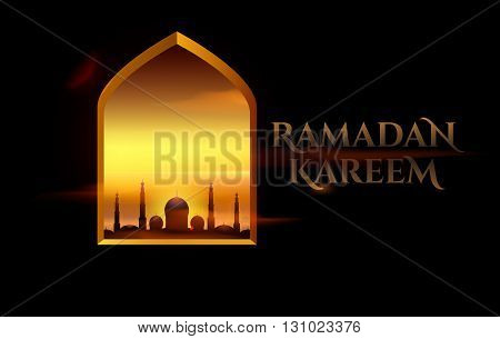 Ramadan Kareem beautiful greeting card for holy month of Ramadan Kareem
