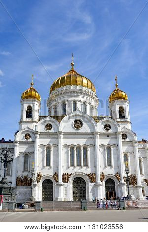 Imposing façade of the Cathedral of Christ the Savior in Moscow