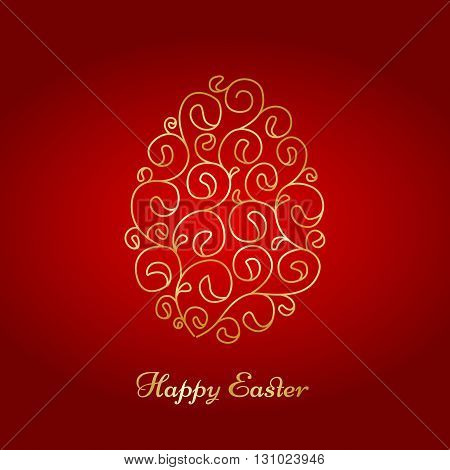 Background with swirl easter egg shape. Template for greeting card
