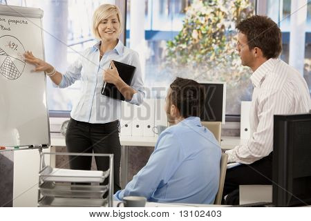 Businesspeople working together in office, talking about chart on whiteboard.