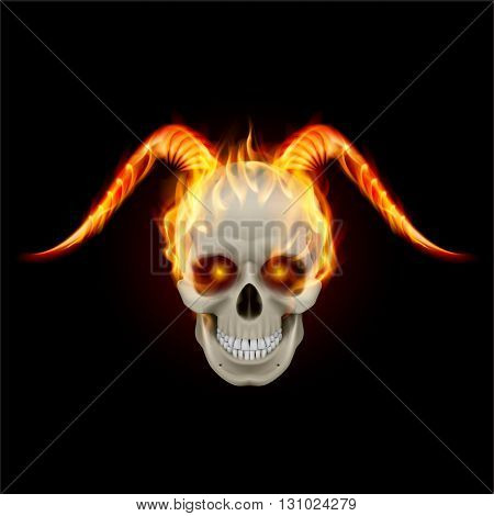 Scary burning skull with demon fire horns