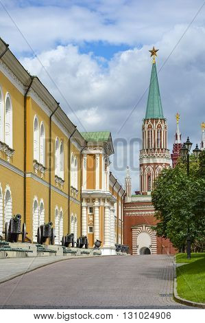 Old cannons on display at a Kremlin street