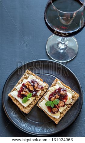 Bread With Brie And Jam