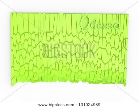 3d illustration of simple rock wall with Odessa word. low poly triangles and polygons style.ancient building. icon for game web. green rocks color. white background isolated with shadow. simple to use