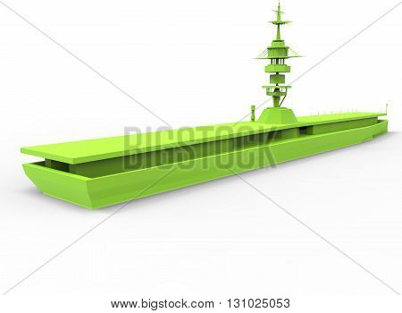 3d illustration of simple war ship. low poly triangles and polygons style. usa style. naval army. icon for game web. green color. white background isolated with shadow. simple to use