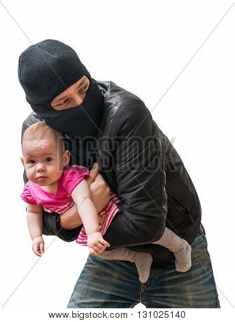 Thief is stealing kidnapped baby. Children kidnapping concept. Isolated on white background.