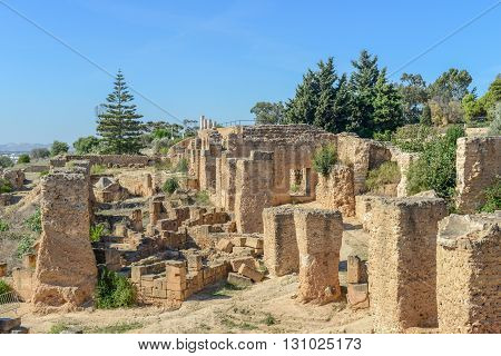 Ruins of Antonine Baths at Carthage near Tunis / Tunisia