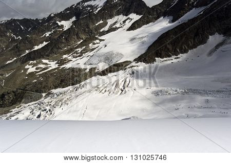 landscape of trift glacier climbing weissmies in swiss alps