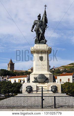 Statue of Hernan Cortes Mexico conqueror Medellin Extremadura Spain