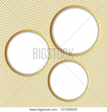 three round banners on textured background - vector illustration