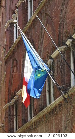 Flags Of Italy And Eu