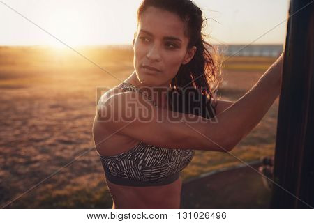 Fit Young Woman Looking Away