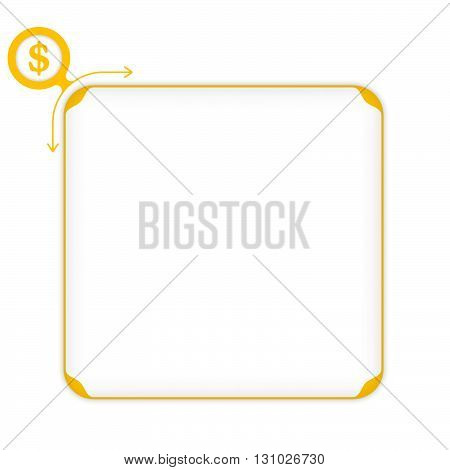 Vector yellow box to fill your text and dollar symbol