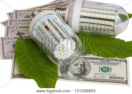 Led light and dollars.The concept of saving and environmental protection