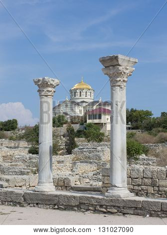 Vladimir Cathedral in the Chersonesos Taurica. Sevastopol, Crimea,
