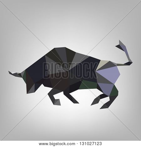 Triangular bull on a white background. Made in low poly triangular style. Abstract silhouette of the bull - vector illustration.