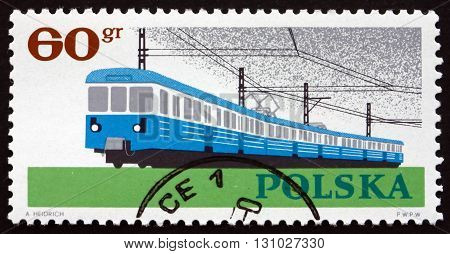 POLAND - CIRCA 1966: a stamp printed in the Poland shows Railroad Train 20th Anniversary of the Nationalization of Polish Industry circa 1966