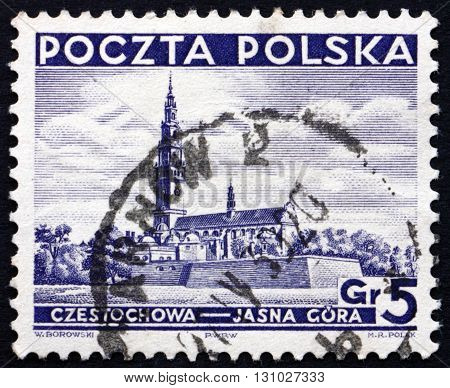 POLAND - CIRCA 1937: a stamp printed in the Poland shows Church at Czestochowa Jasna Gora circa 1937