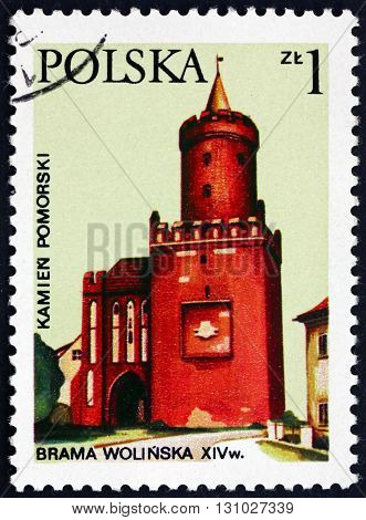 POLAND - CIRCA 1977: a stamp printed in the Poland shows Wolin Gate Architectural Landmark circa 1977