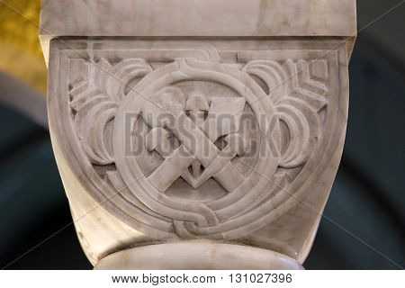 ZAGREB, CROATIA - JANUARY 31: The symbol of passion of Jesus Christ on a pillar in the church of Saint Blaise in Zagreb, Croatia on January 31, 2015