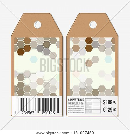Vector tags design on both sides, cardboard sale labels with barcode. Polygonal design vector, geometric hexagonal backgrounds.