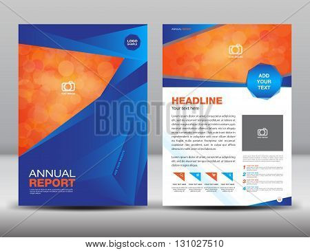Blue Annual report template cover design brochure flyer Layout  template design