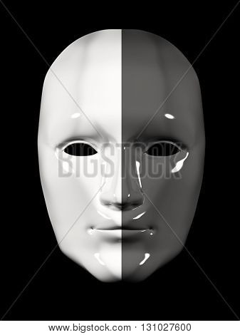 Human face mask of different colors - black and white. Isolated on black background. 3d render
