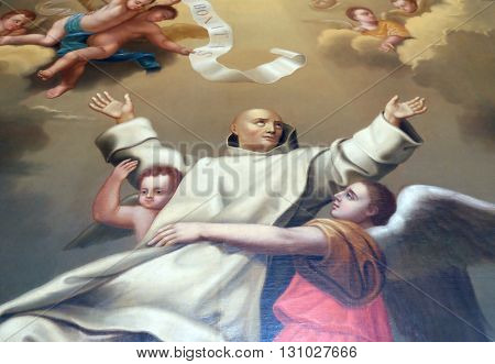 PLETERJE, SLOVENIA - NOVEMBER 06: Saint Bruno of Cologne founder of the Carthusian Order, Carthusian monastery in Pleterje, Slovenia on November 06, 2015.