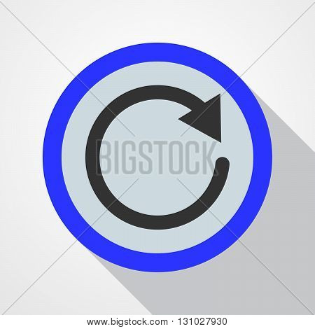 Blue button with image of black recycle sign. Icon of recycle - vector illustration.