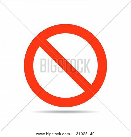 Not allowed sign - vector illustration. Stop sign in red color on a white background.