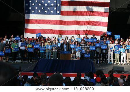 IRVINE, CALIFORNIA - May 22: Bernie Sanders speaks to the crowd in Irvine, California on May 22, 2016