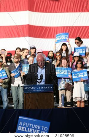 IRVINE, CALIFORNIA - May 22: Bernie Sanders speaks to the crowd in Irvine, California on May 22, 2016