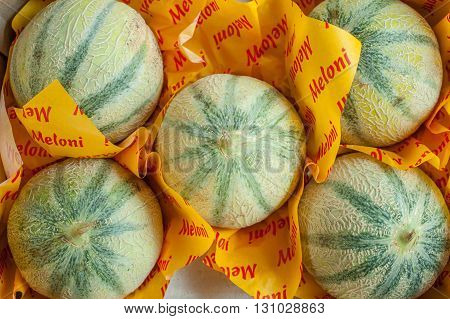 Group Of Whole Summer Melons In Market