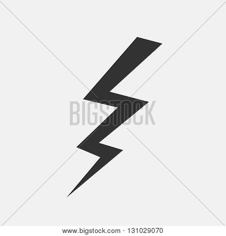 Lightning icon - vector illustration. Flat black lightning on grey background.