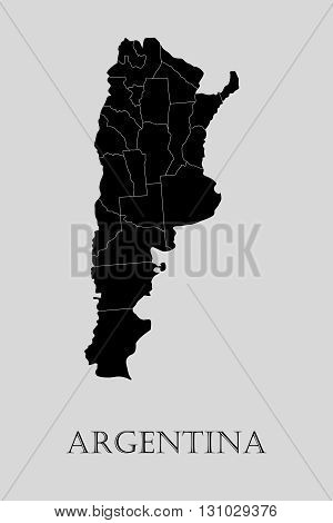 Black Argentina map on light grey background. Black Argentina map - vector illustration.