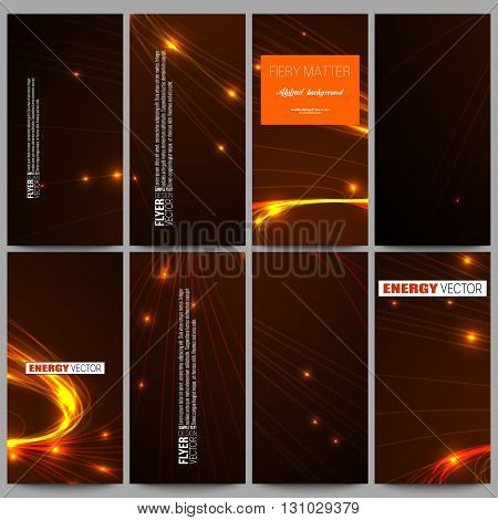 Set of modern vector flyers. Abstract lines background, dynamic glowing decoration, motion design, energy style vector illustration.