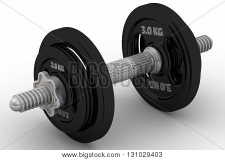 Dumbbell. Collapsible dumbbell on a white surface. Isolated. 3D Illustration