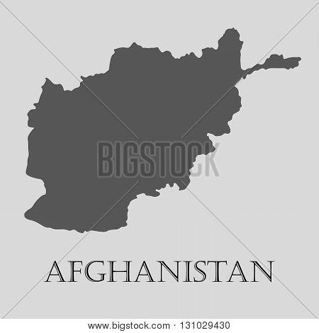 Black Afghanistan map on light grey background. Black Afghanistan map - vector illustration.