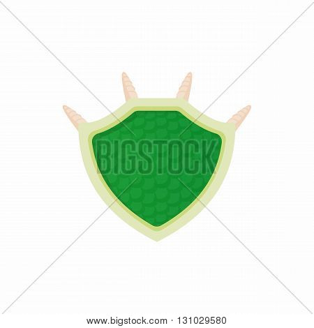 Green protective shield icon in cartoon style isolated on white background. Protection and security symbol