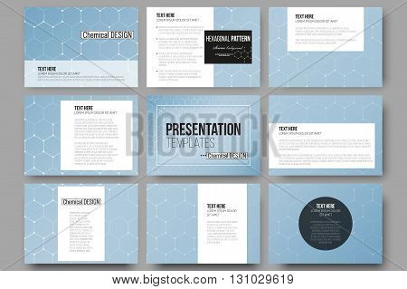 Set of 9 vector templates for presentation slides. Chemistry pattern, hexagonal design vector illustration