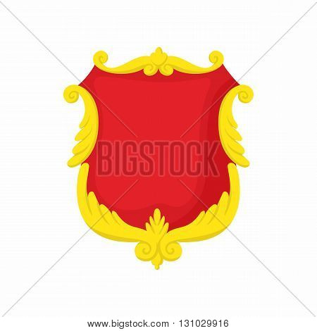 Shield with gold decoration icon in cartoon style isolated on white background. Protection and security symbol