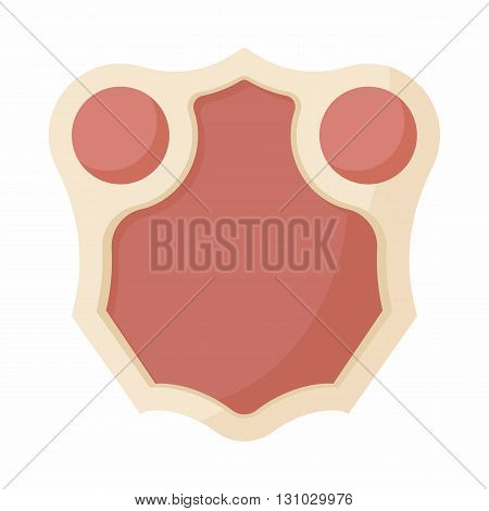Shield with leather design icon in cartoon style isolated on white background. Protection and security symbol