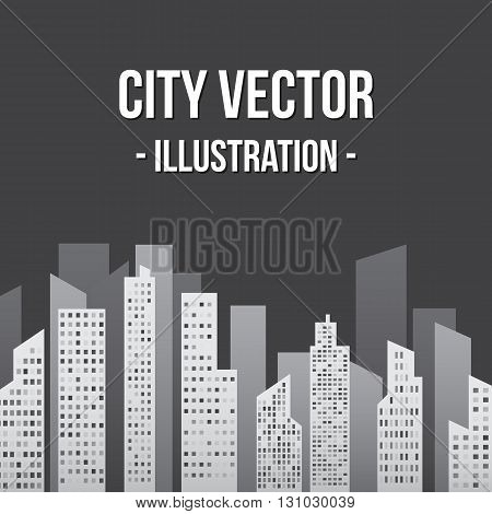 City in Shades of Gray Vector Illustration