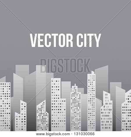 City in Shades of Light Gray Vector Illustration