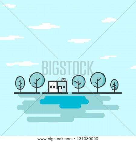 summer landscape.Little house and trees. Flat style vector illustration.